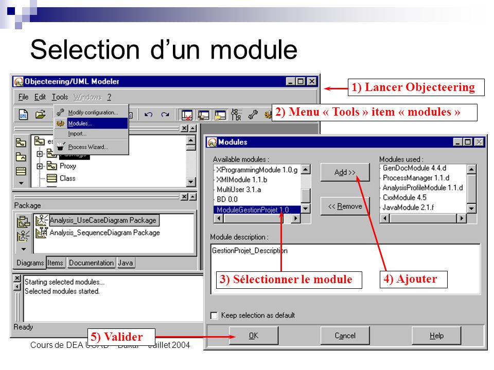 Selection d'un module 1) Lancer Objecteering