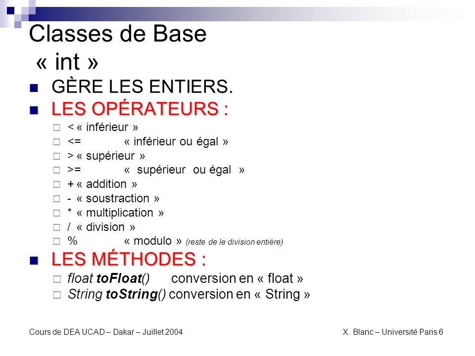 Classes de Base « int » GÈRE LES ENTIERS. LES OPÉRATEURS :