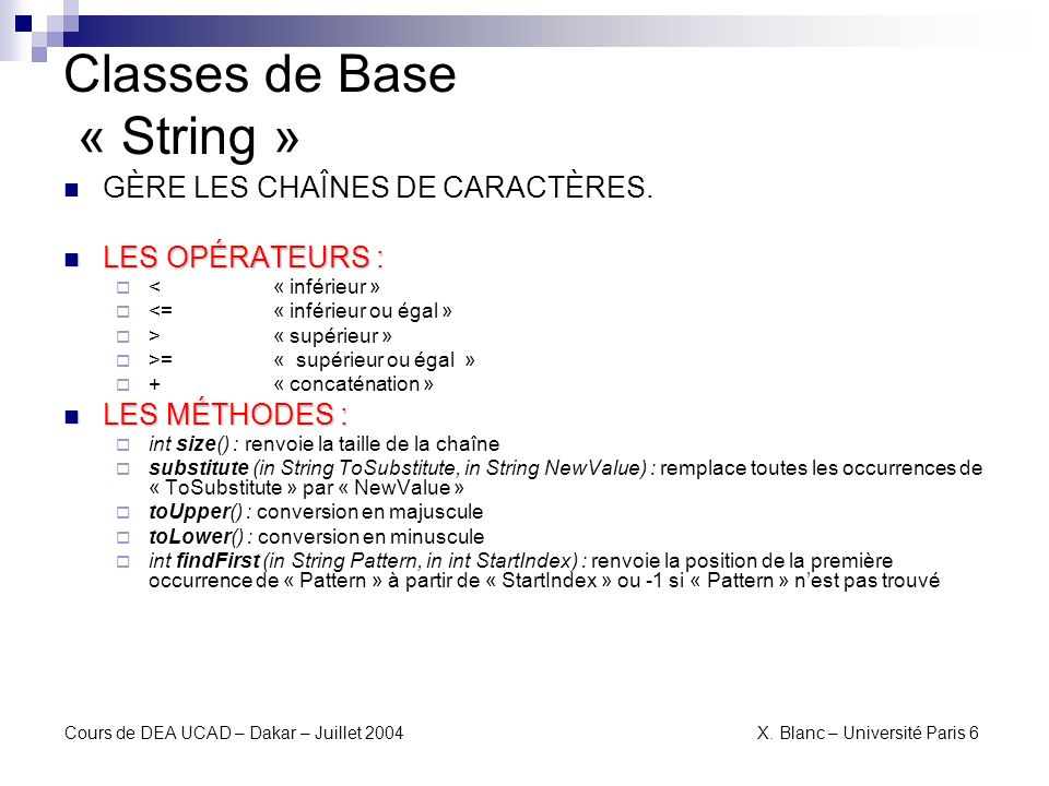 Classes de Base « String »