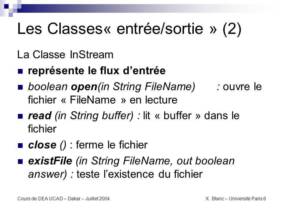 Les Classes« entrée/sortie » (2)
