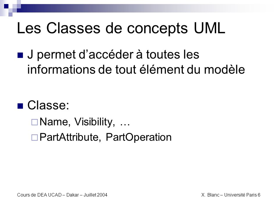 Les Classes de concepts UML