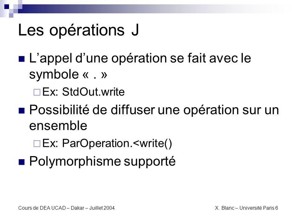 Les opérations J L'appel d'une opération se fait avec le symbole « . »
