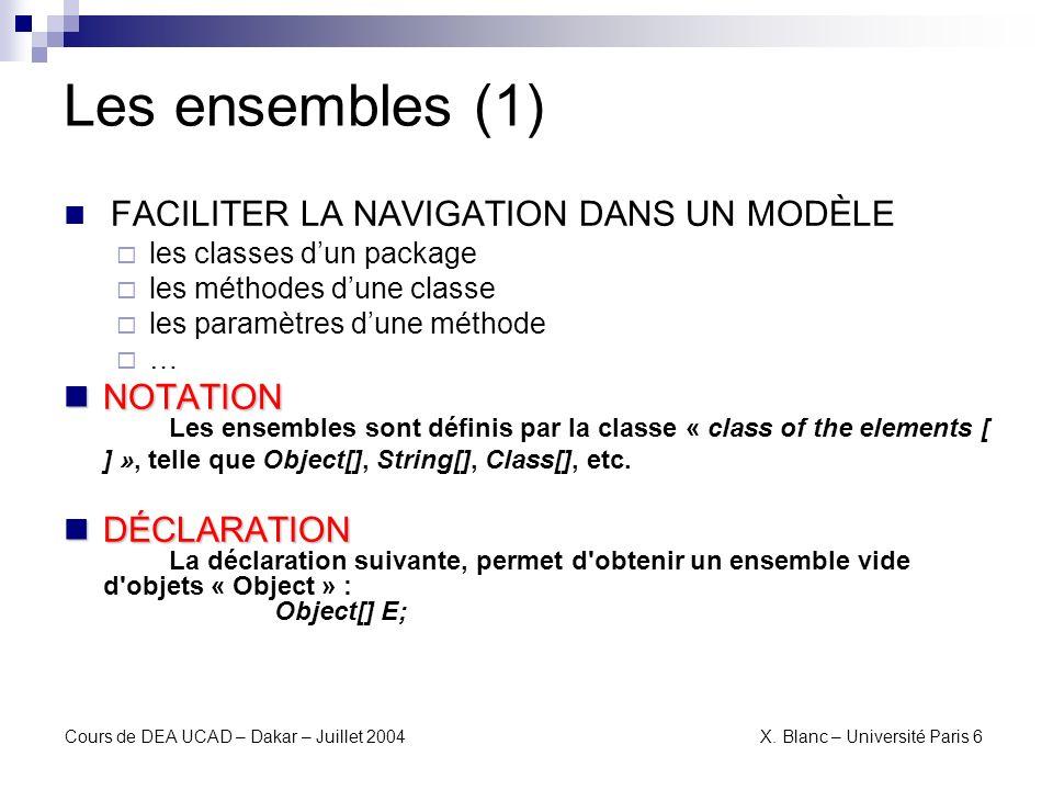 Les ensembles (1) FACILITER LA NAVIGATION DANS UN MODÈLE. les classes d'un package. les méthodes d'une classe.