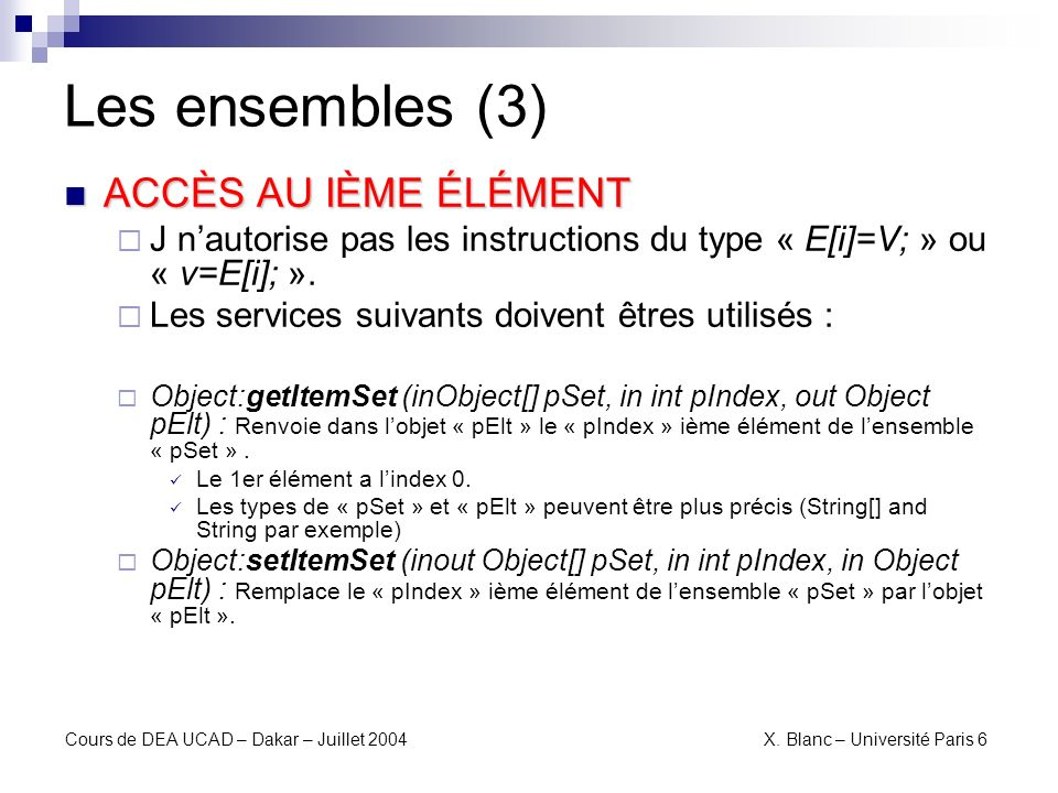 Les ensembles (3) ACCÈS AU IÈME ÉLÉMENT