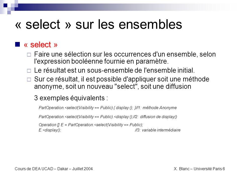 « select » sur les ensembles