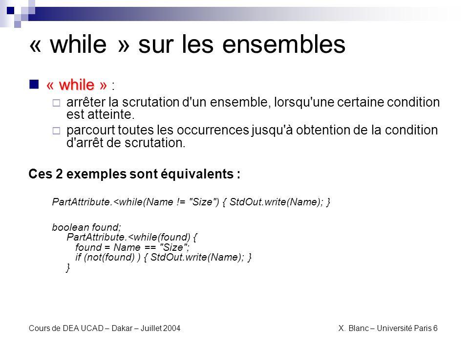 « while » sur les ensembles