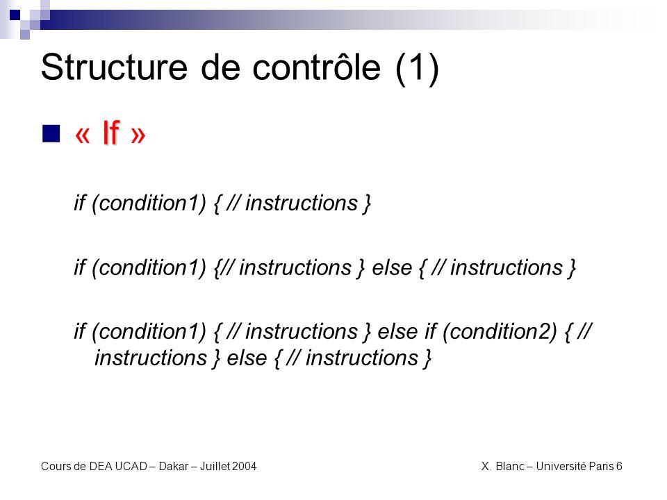Structure de contrôle (1)