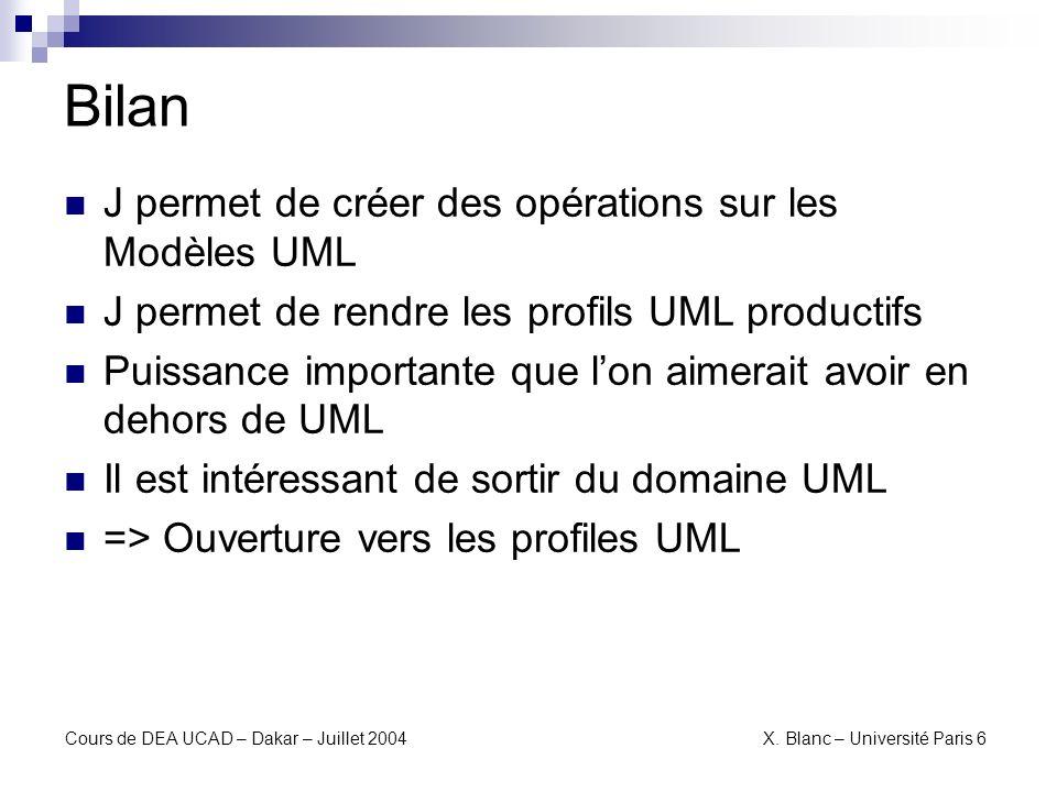 Bilan J permet de créer des opérations sur les Modèles UML