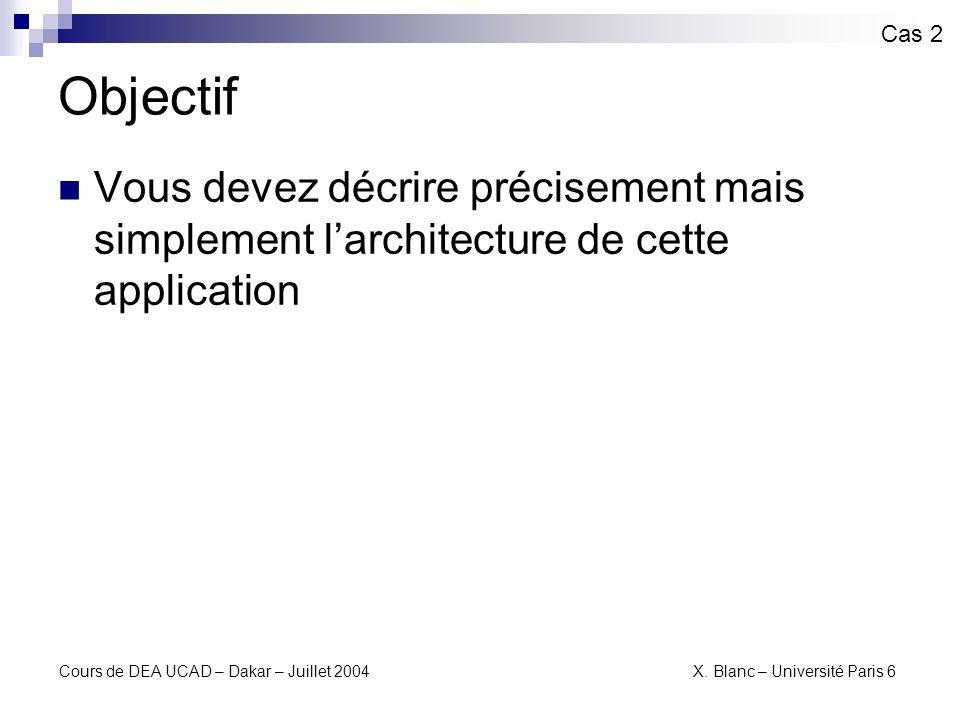 Cas 2 Objectif. Vous devez décrire précisement mais simplement l'architecture de cette application.