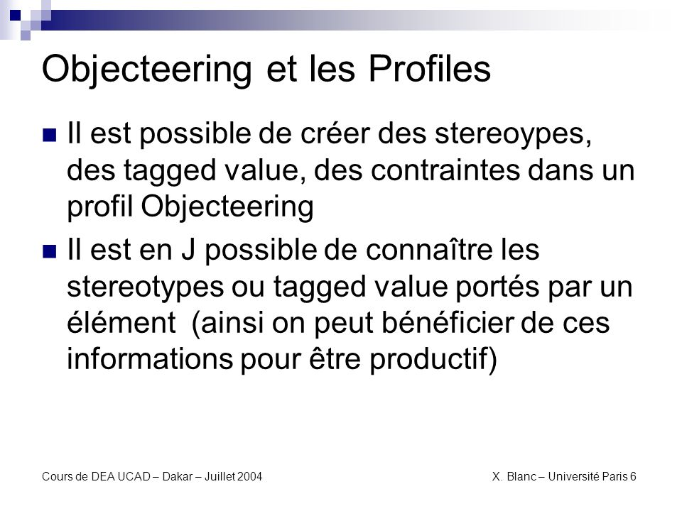 Objecteering et les Profiles
