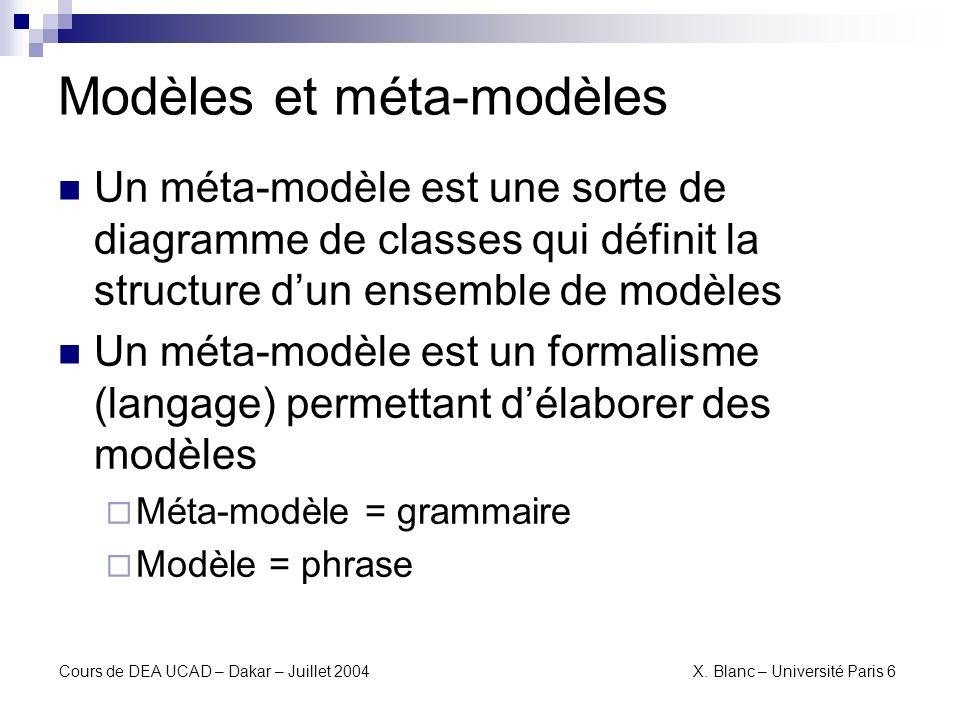 Modèles et méta-modèles