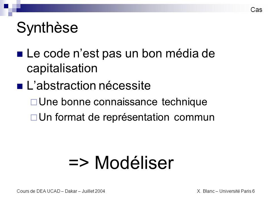 => Modéliser Synthèse