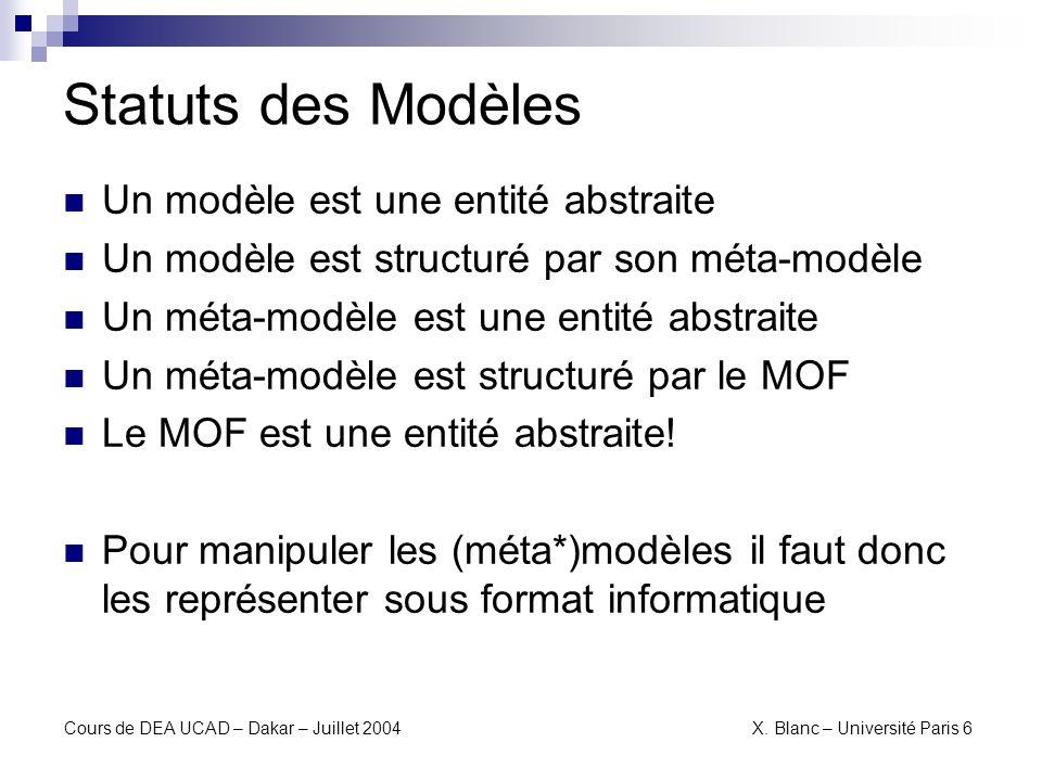 Statuts des Modèles Un modèle est une entité abstraite