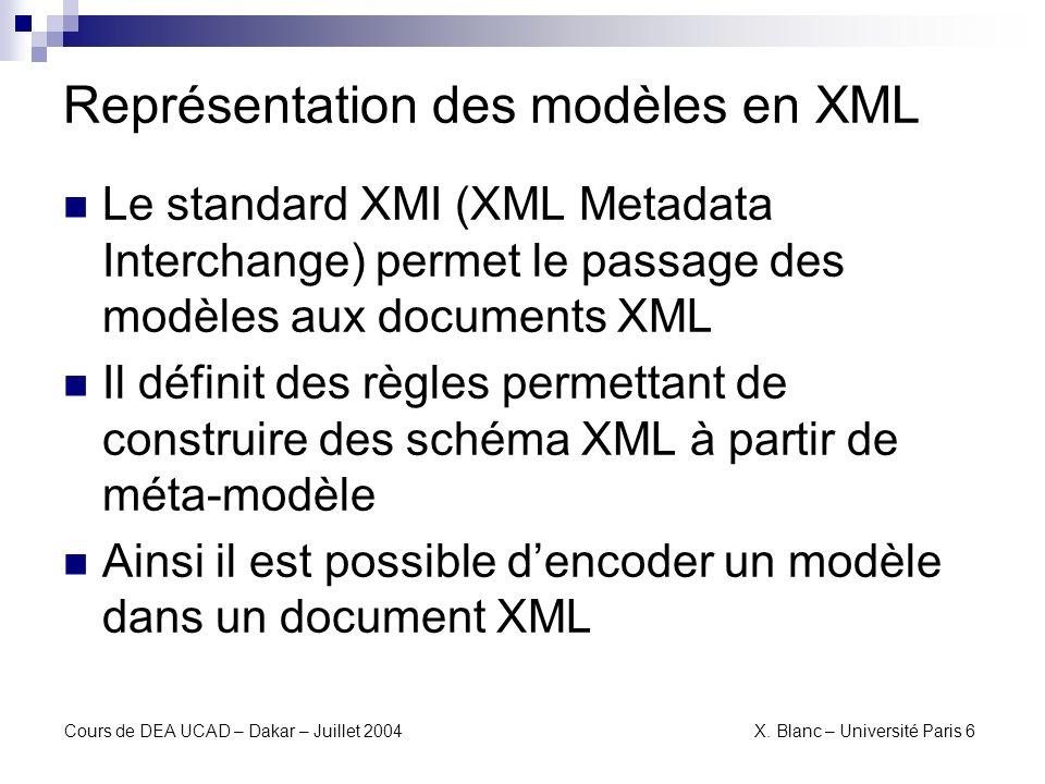 Représentation des modèles en XML