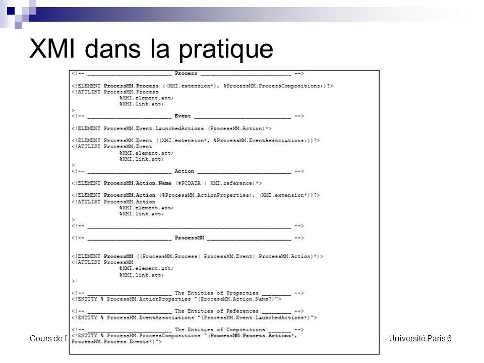 XMI dans la pratique Cours de DEA UCAD – Dakar – Juillet 2004 X.