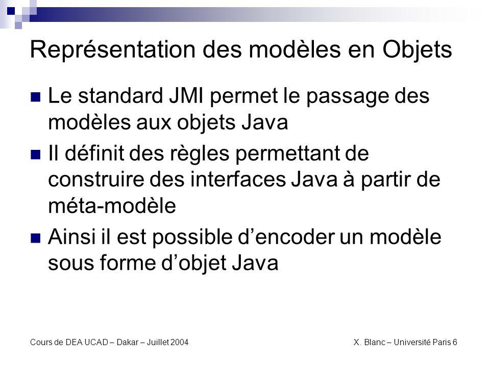 Représentation des modèles en Objets