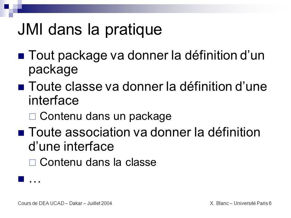 JMI dans la pratique Tout package va donner la définition d'un package