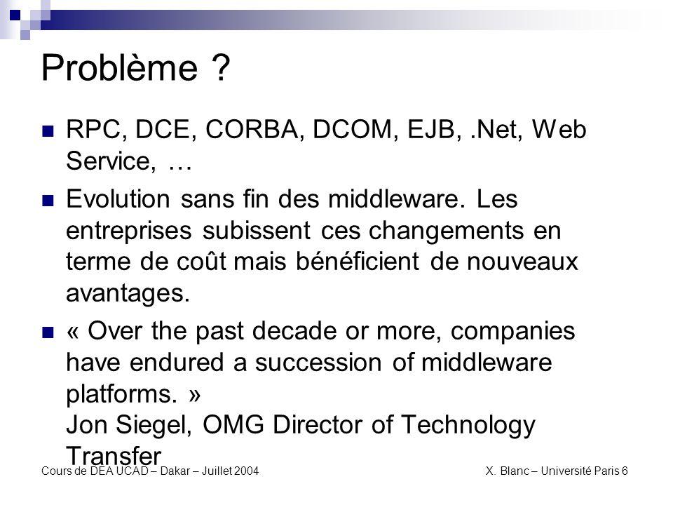 Problème RPC, DCE, CORBA, DCOM, EJB, .Net, Web Service, …