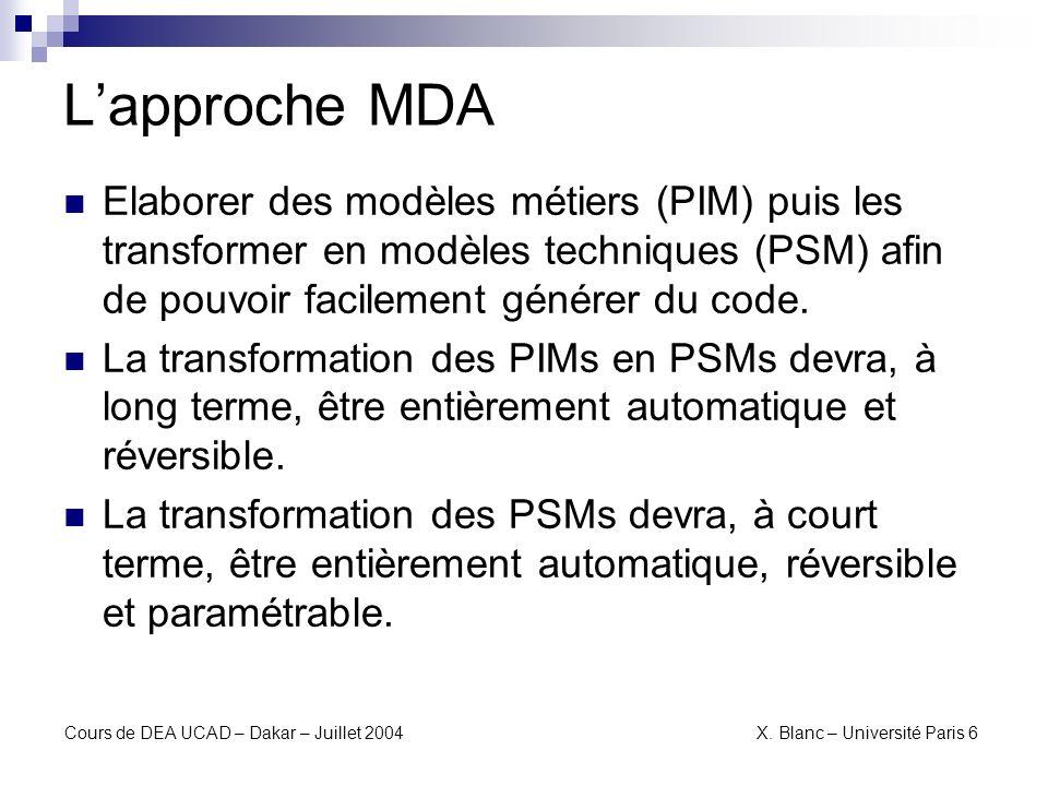 L'approche MDA Elaborer des modèles métiers (PIM) puis les transformer en modèles techniques (PSM) afin de pouvoir facilement générer du code.