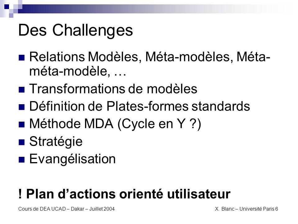 Des Challenges Relations Modèles, Méta-modèles, Méta-méta-modèle, …