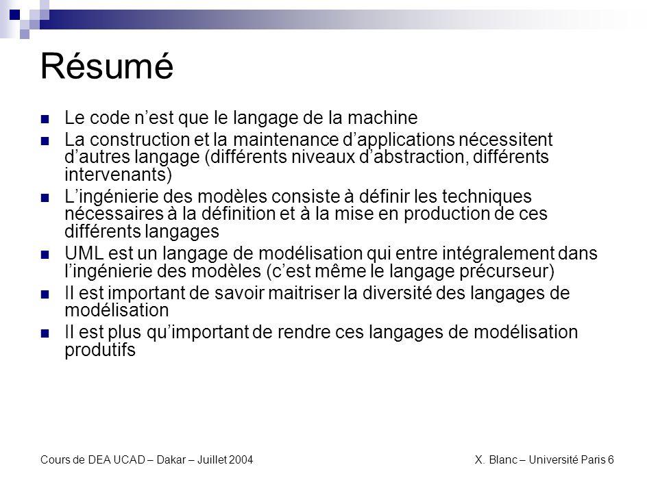 Résumé Le code n'est que le langage de la machine