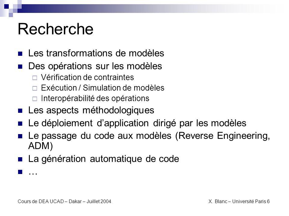 Recherche Les transformations de modèles