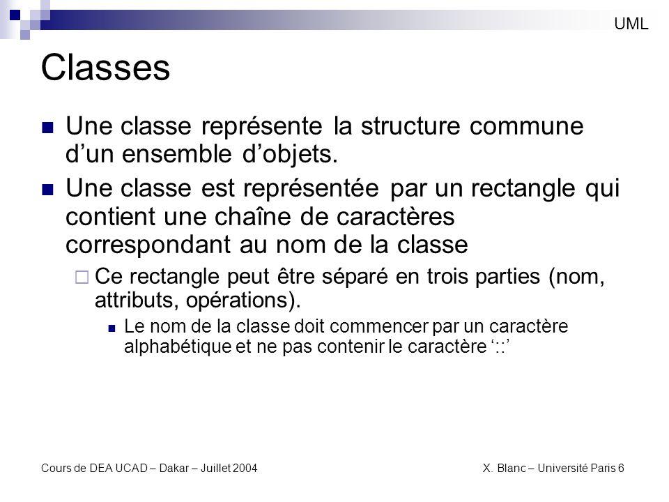 UMLClasses. Une classe représente la structure commune d'un ensemble d'objets.