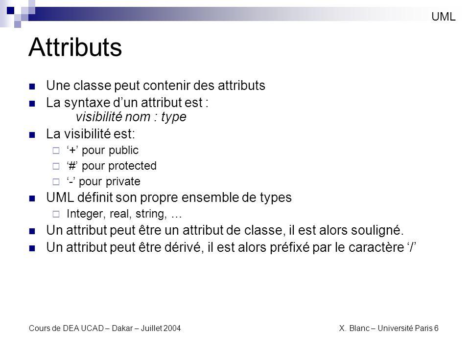 Attributs Une classe peut contenir des attributs