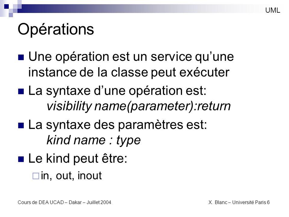 UML Opérations. Une opération est un service qu'une instance de la classe peut exécuter.