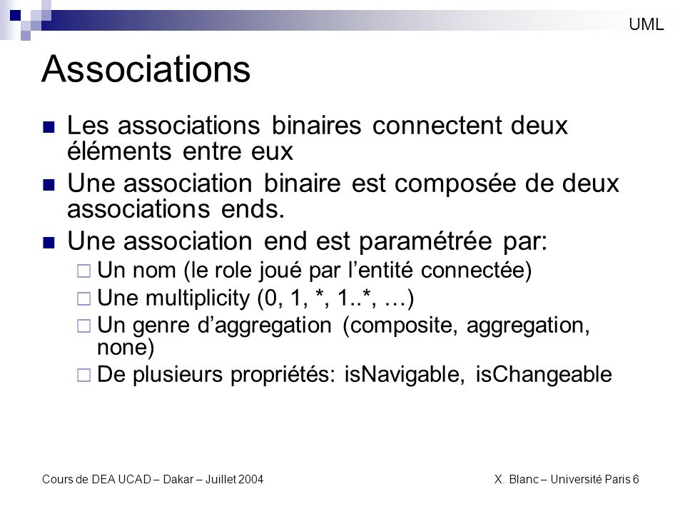 UMLAssociations. Les associations binaires connectent deux éléments entre eux. Une association binaire est composée de deux associations ends.