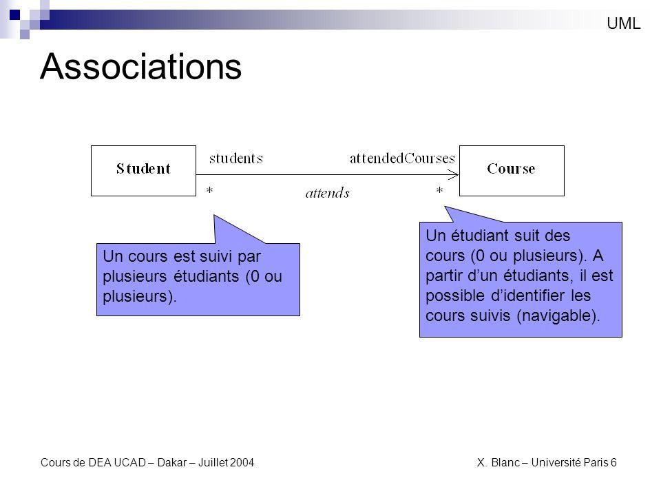 UML Associations. Un étudiant suit des cours (0 ou plusieurs). A partir d'un étudiants, il est possible d'identifier les cours suivis (navigable).