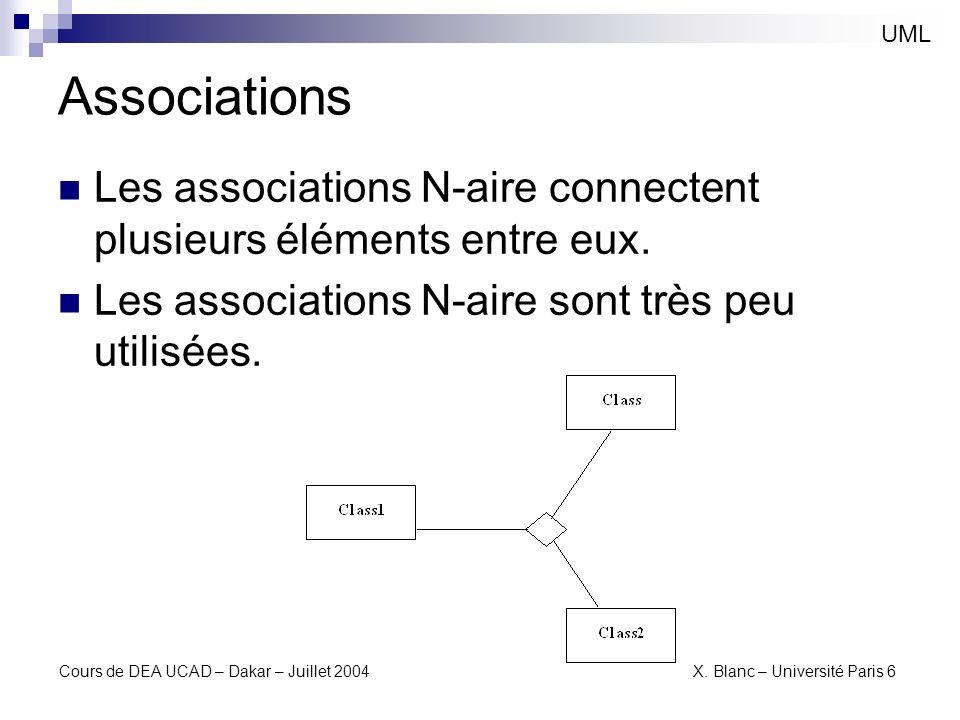 UML Associations. Les associations N-aire connectent plusieurs éléments entre eux. Les associations N-aire sont très peu utilisées.