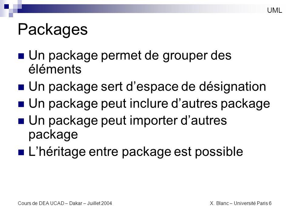 Packages Un package permet de grouper des éléments