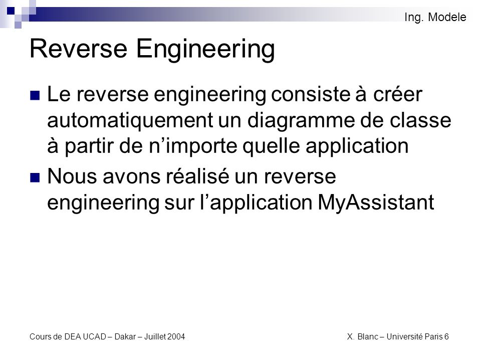 Ing. Modele Reverse Engineering.