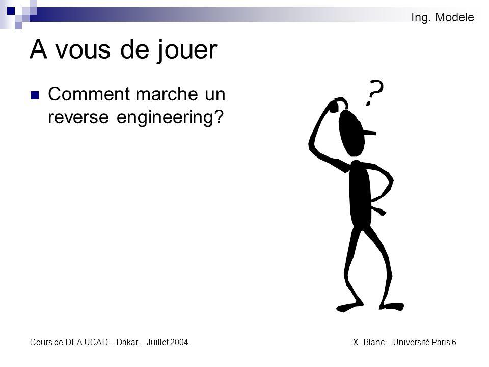 A vous de jouer Comment marche un reverse engineering Ing. Modele
