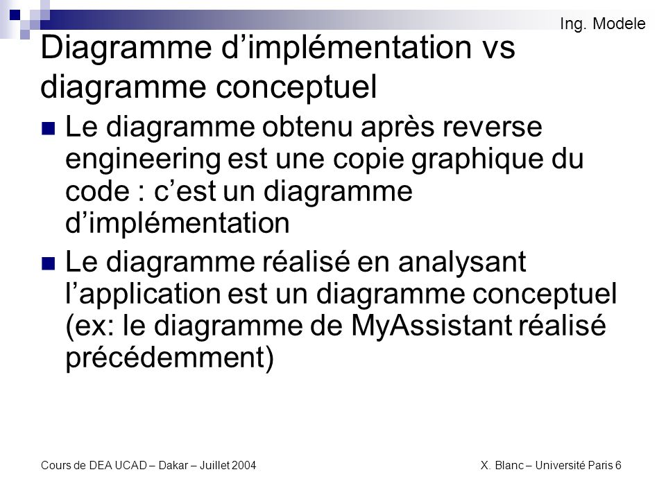Diagramme d'implémentation vs diagramme conceptuel