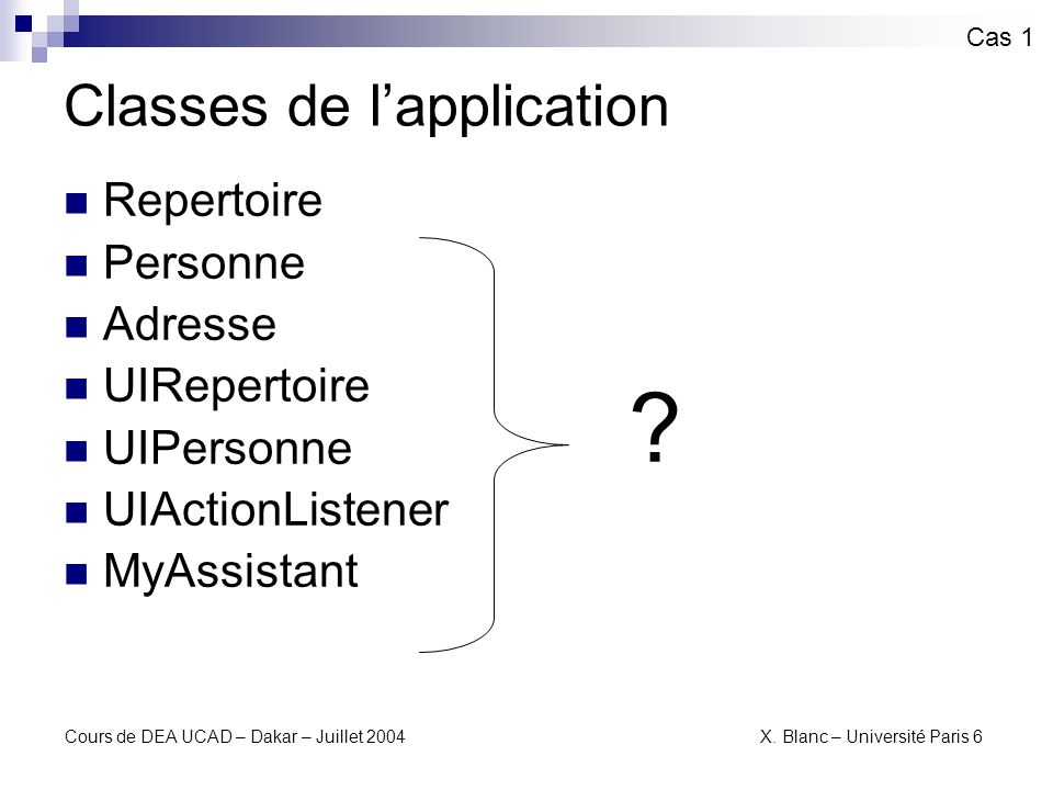 Classes de l'application