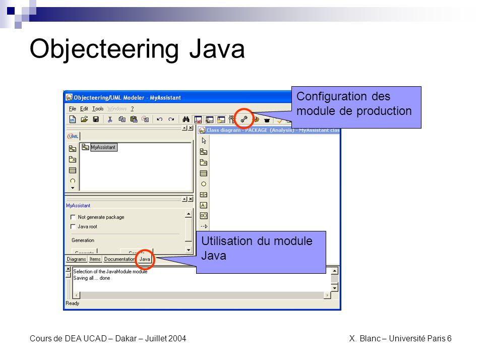 Objecteering Java Configuration des module de production