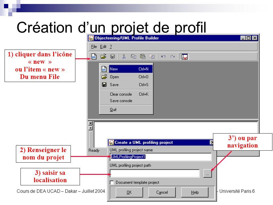 Création d'un projet de profil
