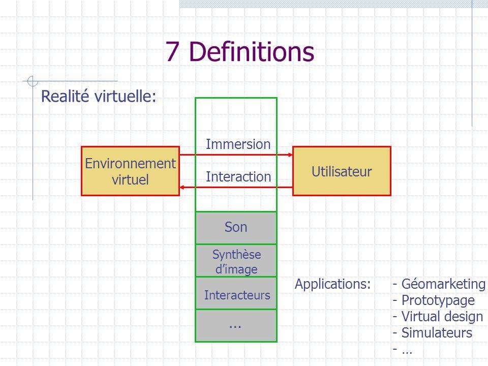 7 Definitions Realité virtuelle: … Immersion Environnement Utilisateur