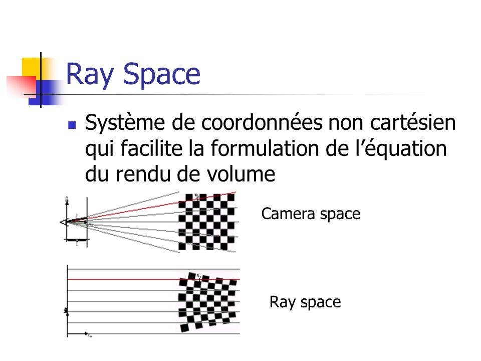 Ray Space Système de coordonnées non cartésien qui facilite la formulation de l'équation du rendu de volume.