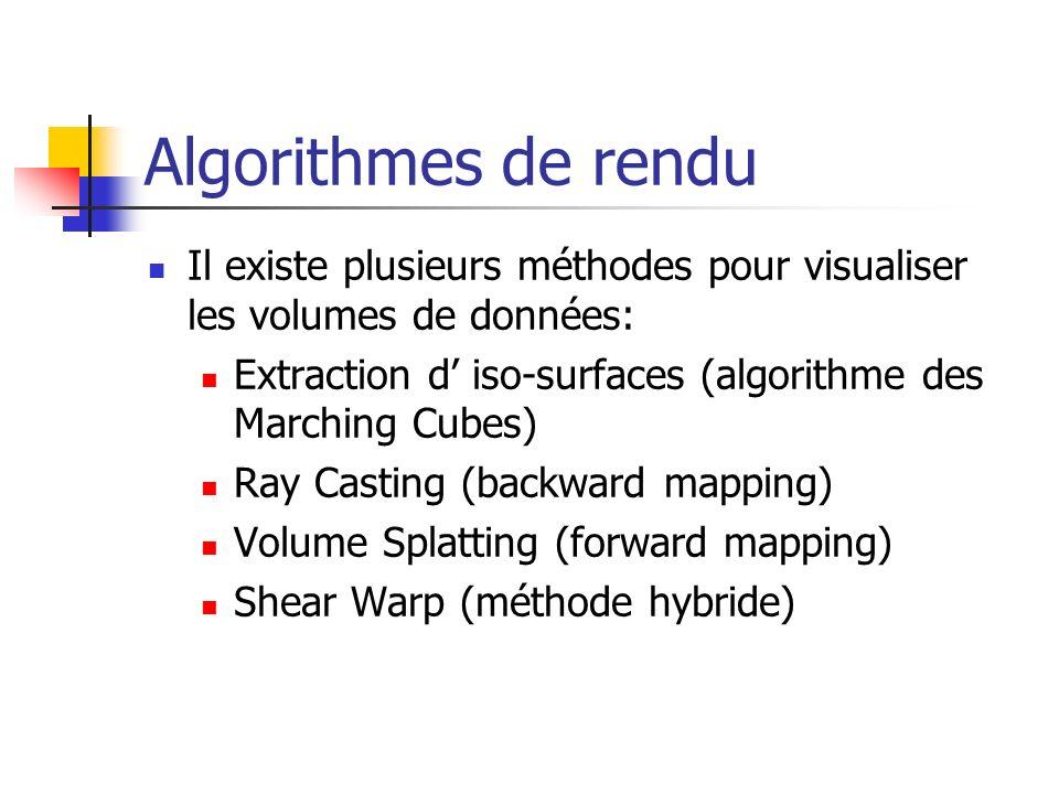 Algorithmes de rendu Il existe plusieurs méthodes pour visualiser les volumes de données: Extraction d' iso-surfaces (algorithme des Marching Cubes)
