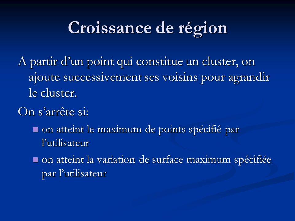 Croissance de région A partir d'un point qui constitue un cluster, on ajoute successivement ses voisins pour agrandir le cluster.