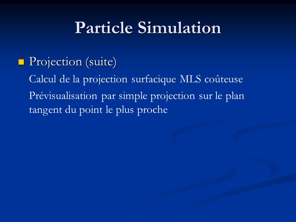 Particle Simulation Projection (suite)