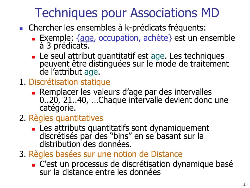 Techniques pour Associations MD