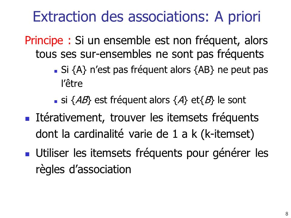 Extraction des associations: A priori
