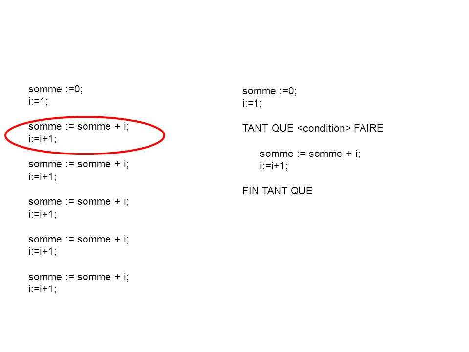 somme :=0;i:=1; somme := somme + i; i:=i+1; somme :=0; i:=1; TANT QUE <condition> FAIRE. somme := somme + i;
