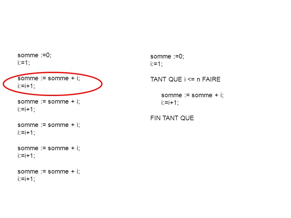 somme :=0; i:=1; somme := somme + i; i:=i+1; somme :=0; i:=1; TANT QUE i <= n FAIRE. somme := somme + i;