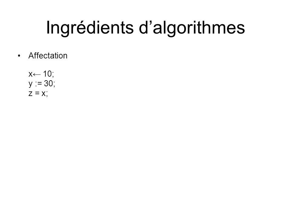 Ingrédients d'algorithmes