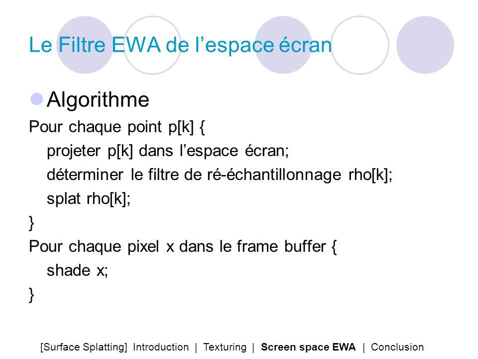 Le Filtre EWA de l'espace écran